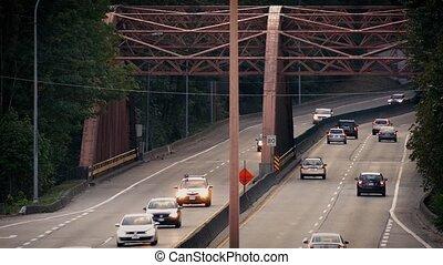 Traffic Over Old Iron Bridge