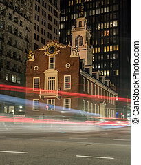 Traffic Passing Old State House in Boston