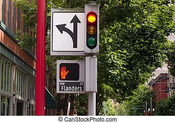 Traffic Pedestrian and Directional Symbols Signals Downtown