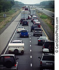 traffic - Cars and truck stoped on highway