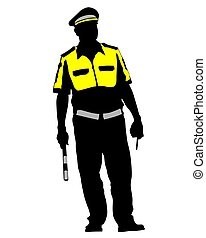 Traffic police one - People of special police force on white...