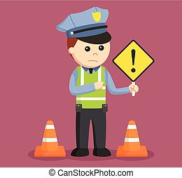 traffic police with danger sign