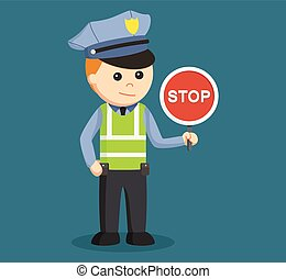 traffic police with stop sign
