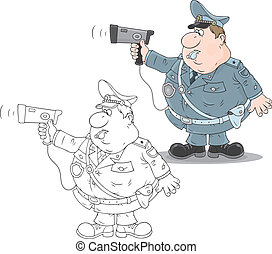 Traffic policeman with a radar - Fat traffic officer holding...