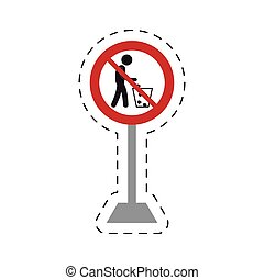traffic prohibited man throwing trash can