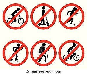 Traffic prohibition sign for various sports