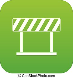 Traffic prohibition sign icon digital green
