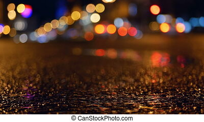 Traffic rain road city - Puddle whilst it rains road traffic