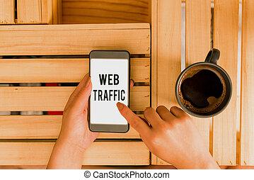 traffic., reçu, concept, écriture, signification, website., toile, visiteurs, montant, envoyé, données, texte