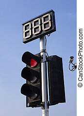 Traffic Red Light and Countdown Sign with CCTV
