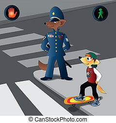 Traffic regulations - To learn children to cross road...