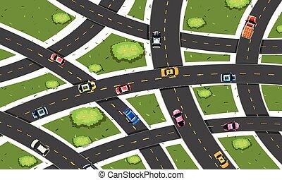 Traffic road aerial view