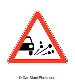 Traffic-Road Sign: Loose Chippings on the Road