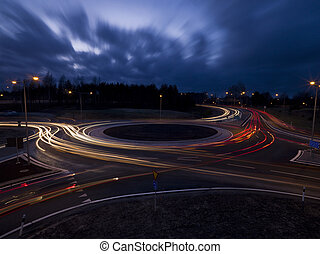 Traffic roundabout shot with long exposure time at night...