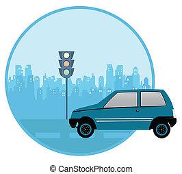 traffic rules - car at a traffic signal