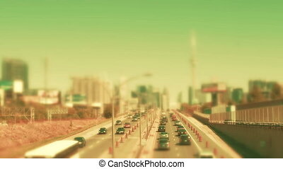 Traffic scene in a large city - Highway traffic near a large...