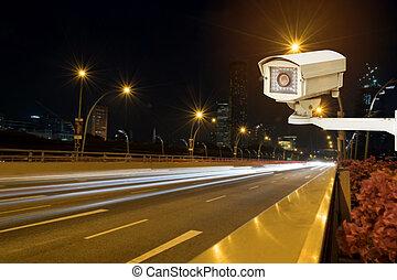 traffic security camera surveillance - Closeup of traffic...