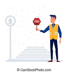 Traffic security guard with stop sign in front of the crosswalk.