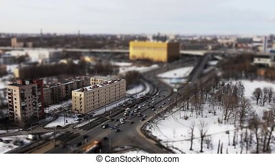 traffic shot with tilt shift effect - aerial view of the...
