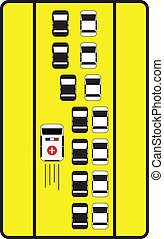 Traffic sign advise cars to give left way to ambulance.
