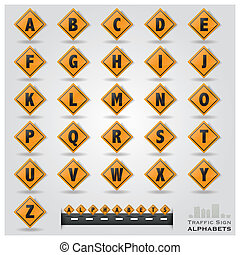 Traffic Sign Alphabets Font Style