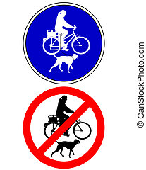 Traffic sign biking with dog