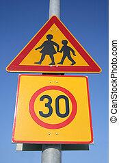 Traffic sign - children and speed limit