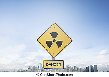Traffic sign concept danger nuclear warning