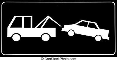 Traffic sign - No parking; traffic sign of a tow truck