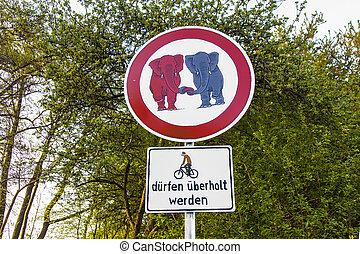traffic sign elephants in Love