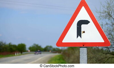Traffic sign - European Sign Warning of a curve in the road