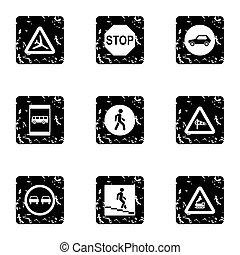 Traffic sign icons set, grunge style