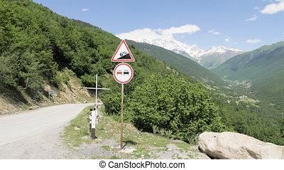 Traffic sign in mountains - mt. Ushba, Georgia - Traffic...