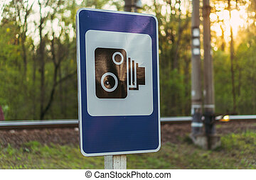 Traffic sign. Information sign photo and video recording violations.
