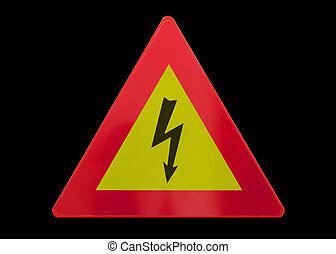 Traffic sign isolated - High voltage