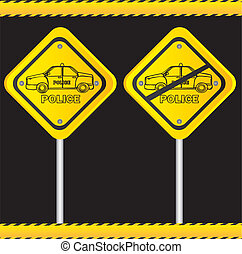 traffic sign isolated on black background, vector...