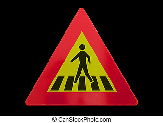 Traffic sign isolated - Pedestrian crossing