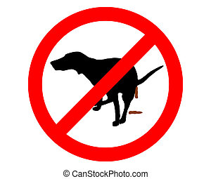 Traffic sign: It?s forbidden for dogs to take a dump