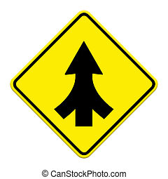 Traffic sign Lanes Merging isolated
