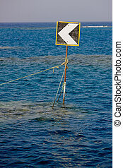 Traffic sign on the ocean.