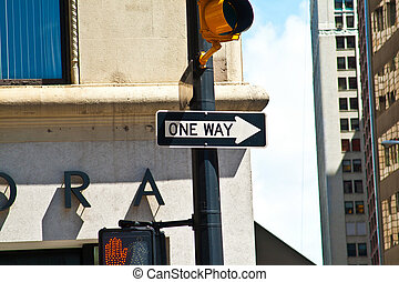 traffic sign one way in New York