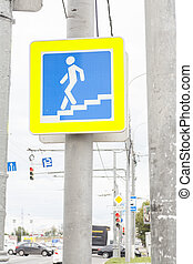 Traffic sign pedestrian crossing on street
