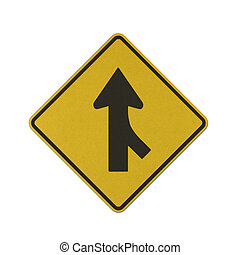 Lanes Merging Right traffic sign recycled paper on white background.