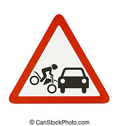 Traffic sign recycled paper - Motorcycle accident traffic...