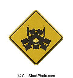 Traffic sign recycled paper - Skull gas mask bones traffic...
