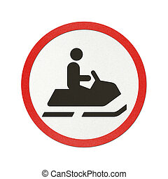 Traffic sign recycled paper - Snowmobile traffic sign...