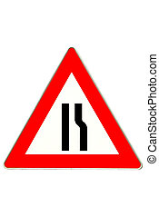 traffic sign road constrictio