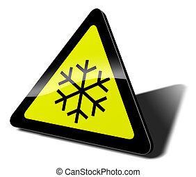 traffic sign snow danger 3d illustration