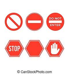Traffic sign stop set. Vector illustration. on white background - Vector
