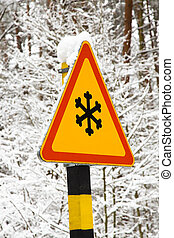 Traffic sign - The traffic sign designating snow weather. It...